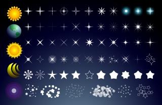 星や太陽と月のクリップアート star, sun and moon vectors and light effects イラスト素材