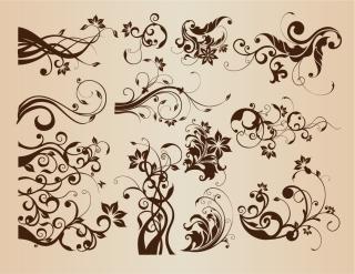 蔓の巻いた植物の飾り罫 Vintage Floral Elements for Design イラスト素材