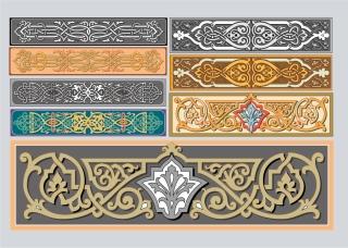 アールヌーボー調の飾り罫 Art Nouveau Ornaments イラスト素材