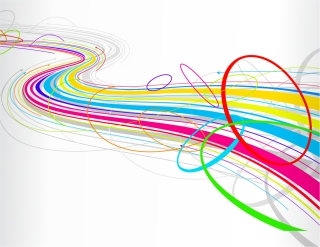 カラフルな曲線の背景 Abstract Colorful Wave Line Background イラスト素材