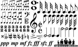 音符と楽譜記号のクリップアート Music Notes and Time Signatures Symbols イラスト素材