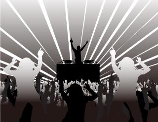 クラブDJとダンスを楽しむシルエット DJ and Party People イラスト素材