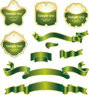 緑のリボンとラベル デザイン green ribbon label vector イラスト素材1