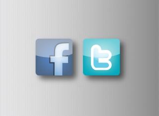 光沢あるフェイスブックとツイッターのアイコン Facebook and Twitter Icons イラスト素材