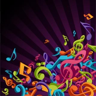 立体的な音符の背景 3D Colorful Music Vector Background イラスト素材