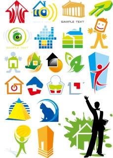 建物を題材にしたロゴ デザイン見本 house theme logo graphics イラスト素材2