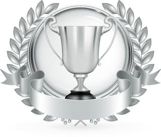 金銀銅に輝くトロフィー Golden Silver bronze trophy vector イラスト素材2