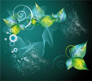 緑の葉と曲線の背景 Abstract Green Swirl Floral Vector Background イラスト素材