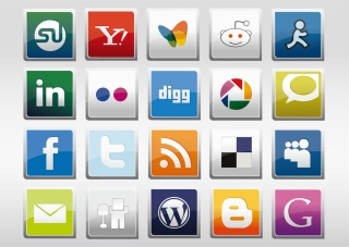 光沢あるソーシャル メディア アイコン集 Social Media Vector Icons イラスト素材