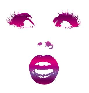 女性の唇を強調して描いた線画 sexy girls lips vector イラスト素材4