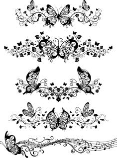 蝶と音符の飾り罫 flower Beautiful butterfly pattern vector イラスト素材