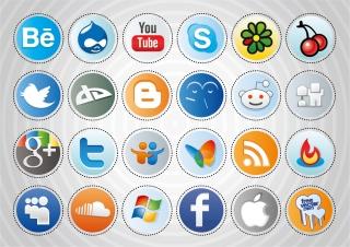 ソーシャルメディア ボタン デザイン Social Media Buttons イラスト素材