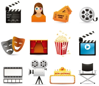 映画を題材にしたクリップアート cinema movie icon vector イラスト素材