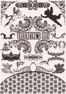 結婚とバレンタインデーをテーマにした飾り罫 wedding lace pattern vector イラスト素材3