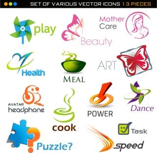 洗練されたロゴデザイン見本 Fine shape trademarks logos イラスト素材