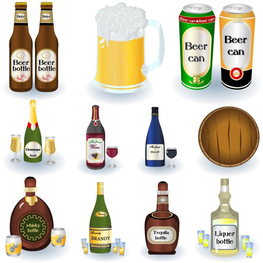冷えたビールとお酒のクリップアート Beer Bottles Drinks イラスト素材