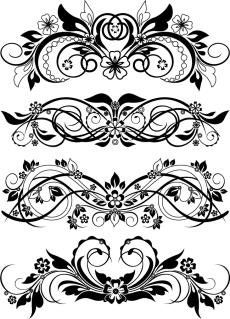 植物柄の優雅な曲線が美しい飾り罫 Vector Floral Ornaments イラスト素材