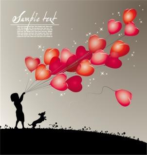 美しく輝くハートの背景 beautiful heartshaped vector love theme イラスト素材2