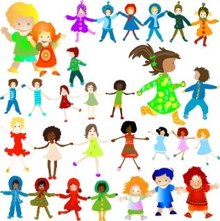 手をつないで遊ぶ子供達 hand in hand happy children イラスト素材5