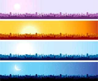 都市の遠景を背景にしたバナー city silhouette banner vector background イラスト素材