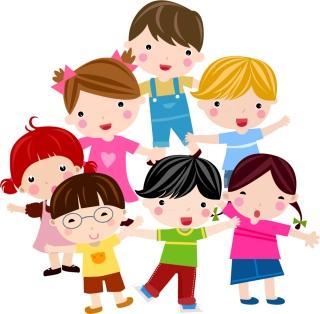 元気な子供が集合したクリップアート Cute cartoon children characters vector イラスト素材6