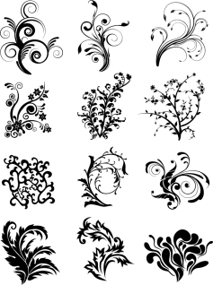 植物が蔓を巻いた飾り罫 Floral Curves Vector Set イラスト素材