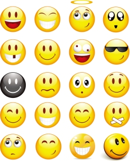 表情豊かな顔文字アイコン Cool Smilies Vector Icon イラスト素材