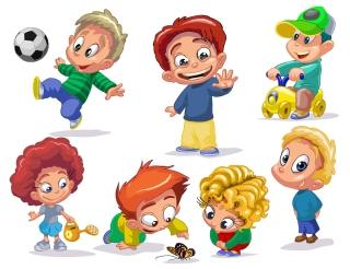 元気に遊ぶ子供達のクリップアート cartoon children vector イラスト素材2