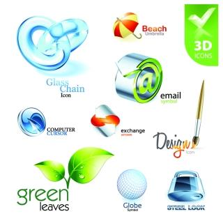 美しい立体アイコンのデザイン見本 beautiful 3d icon vector イラスト素材2