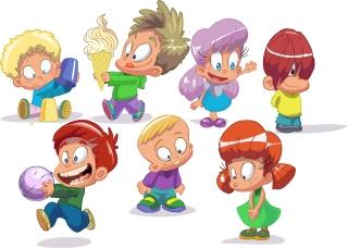 元気に遊ぶ子供達のクリップアート cartoon children vector イラスト素材1