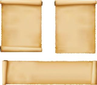 古紙を巻いたテキストスペース scrolls old paper vector イラスト素材4