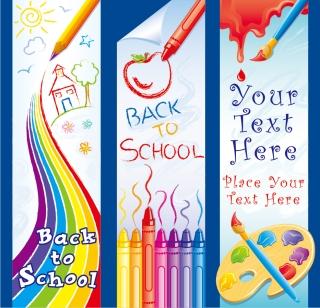 学校で絵を描く縦型バナー children lovely painting theme vector イラスト素材