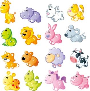 可愛い動物のクリップアート cute cartoon animals vector イラスト素材2