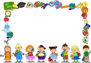 文房具と子供達で囲んだフレーム cartoon school supplies イラスト素材