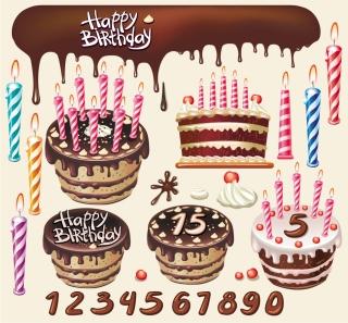 誕生日ケーキのクリップアート beautiful birthday cake theme vector イラスト素材