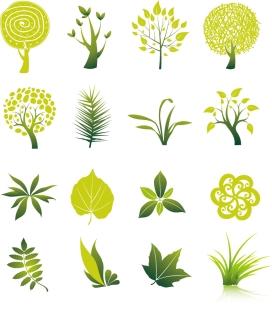 緑の葉と樹木のクリップアート Tree and Leaf Vector Set イラスト素材