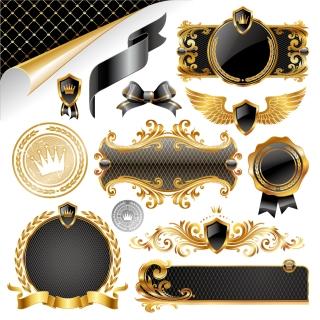 王冠を金色で飾った装飾素材 european gorgeous decorative elements イラスト素材