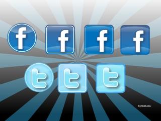 陰影のあるツイッターとフェイスブックのアイコン Twitter & Facebook icons イラスト素材