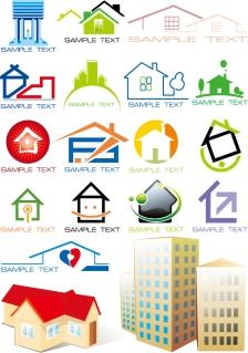 建物をお洒落に描いたアイコン集 house graphics vector イラスト素材2