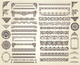 古典的レース飾りのボーダー・コーナー・フレーム集 european classic lace pattern イラスト素材