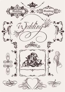 結婚とバレンタインデーをテーマにした飾り罫 wedding lace pattern vector イラスト素材1