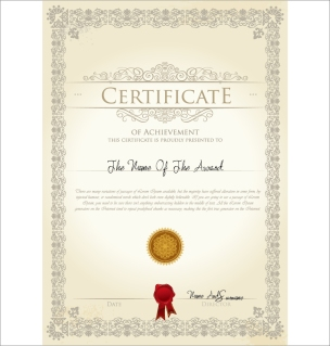 封蝋付き証明書デザイン テンプレート sealing wax certificate template design イラスト素材