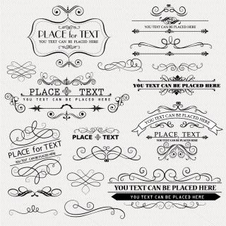 ヴィンテージな飾り罫 Vintage Frames and Scroll design element イラスト素材