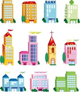 建物のクリップアート Vector Building Icon Set イラスト素材