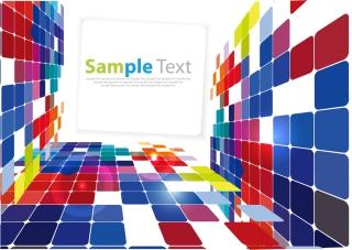 立体的に四角形を積み上げた背景 3D Square Background Vector イラスト素材