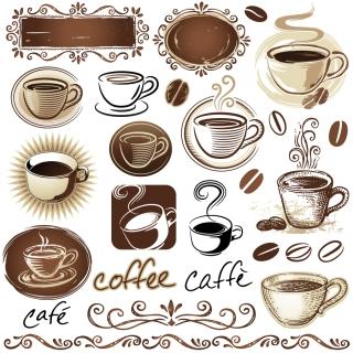 コーヒーを題材にしたクリップアート coffee beans decoration design イラスト素材