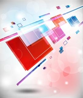 光に反射する矩形を重ねた背景 Abstract Square Colorful Background イラスト素材