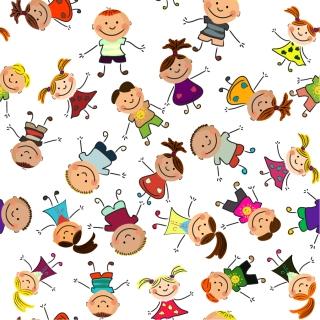 元気な子供が集合したクリップアート Cute cartoon children characters vector イラスト素材5