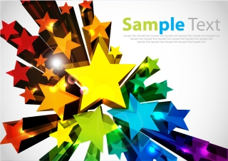 立体的に飛び出すカラフルな星の背景 Colorful 3D Stars Vector Background イラスト素材