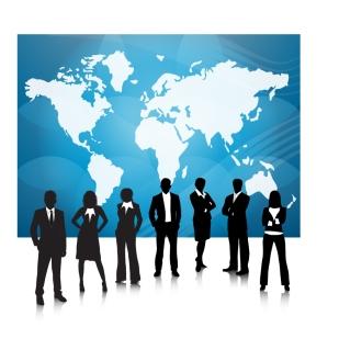 世界地図を背景にしたビジネスチームのシルエット Business People Team With World Map イラスト素材